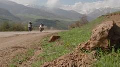 Motocycle ride mountains Stock Footage