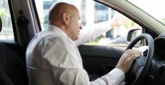 Nervous Driver Traffic Jam Swearing Yelling Gesturing Hand Man in Bad Crisis - stock footage
