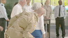 4K Happy reunion at the airport, a soldier returns home Stock Footage