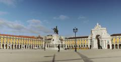 Commerce Square in downtown Lisbon, Portugal (4K) Stock Footage