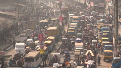 Major traffic jam in central Dhaka, capital city of Bangladesh - stock footage