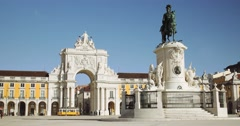 Commerce Square in downtown Lisbon (4K) Stock Footage