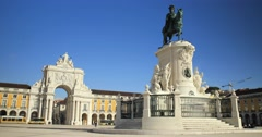 Commerce Square in downtown Lisbon (4K) - stock footage