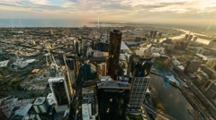 Aerial View Of Melbourne Cityscape During Sunset. Timelapse, Pan Right Up - stock footage