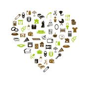 Family and home icons in heart Stock Illustration