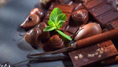 Assortment of fine chocolates in dark and milk chocolate with vanilla and mint - stock footage