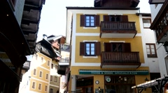 The cozy alpine town - Austrian architecture Stock Footage