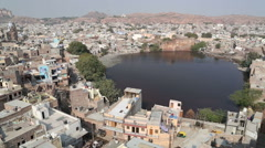 Aerial view of indian town Jodhpur. Stock Footage