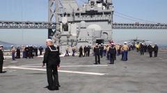 Marines, Sailors Man Rails of USS America During Fleet Week San Francisco - stock footage
