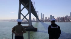 Marines, Sailors Man Rails of USS America During Fleet Week San Francisco - stock footage