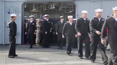 Marines, Sailors Man Rails of USS America During Fleet Week San Francisco Stock Footage