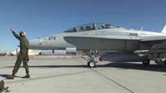 F/A-18 Hornet aircraft maintainers working on the flight-line Stock Footage