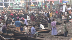 Boatmen try to attract passengers in Dhaka Stock Footage