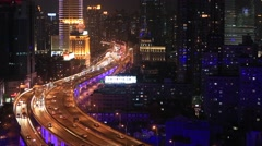 Shanghai Aerial Chinese Highway Crowded Traffic Rush Hour Busy City - stock footage