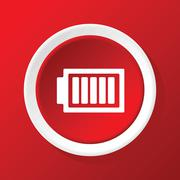 Charged battery icon on red - stock illustration
