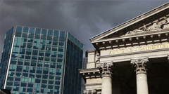 Ominous clouds over the Royal Exchange, London Stock Footage