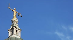 Lady Justice statue, Old Bailey, London, UK Stock Footage