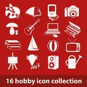 hobby icon collection - stock illustration