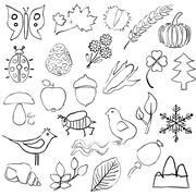 doodle nature pictures - stock illustration