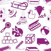 doodle toys seamless pattern - stock illustration