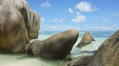 anse source d'argent on la digue Stock Photos