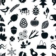 doodle seamless nature pattern - stock illustration