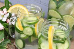 Served Naturally Flavored Cucumber water - stock photo