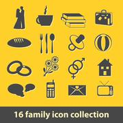 16 family icon collection Stock Illustration
