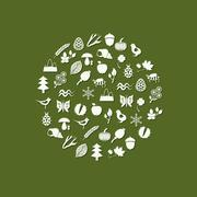 Stock Illustration of nature icons in circle