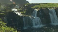 Kirkjufellsfoss Waterfall ICELAND - CIRCA AUGUST, 2014 Stock Footage