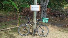bike rental on la digue island seychelles Stock Photos
