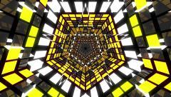 VJ Loop Yellow Pentagonal Tunnel Stock Footage