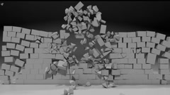 Brick Wall explodes and crumbles Stock Footage