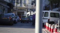 Street in south Tel-Aviv motorbike, establishing, shallow focus Stock Footage