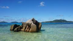 bizarre granite rocks on la digue island Stock Photos