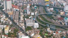Major Highway Interchange in Downtown Bangkok, Thailand, from above Stock Footage
