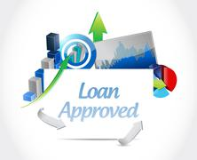 loan approved business charts sign concept - stock illustration