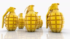 Abstract Hand grenades in gold color on white Stock Footage