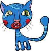 Blue kitten or cat cartoon Piirros