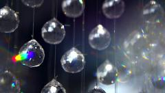 Hanging diamonds with blinking shining reflection. Crystals over dark background Stock Footage