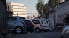 Car parking in Tel-Aviv, Israel, long shot Stock Footage