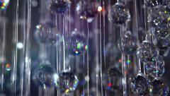 Brilliant chandelier with blinking crystals. Abstract holiday background Stock Footage