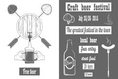 Beer Craft Fest Two-color Poster. Stock Illustration