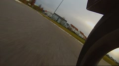A turn in a roundabout with a motorcycle, loopable Stock Footage