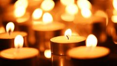 Preparation for Valentine's Day. Bight Lights of candles. Abstract background Stock Footage