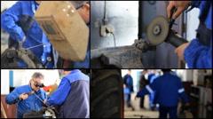 Multi screen Factory Metal Hard Work ,Welder man grinding at the factory Stock Footage