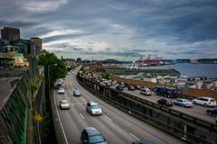 View of the Alaskan Way Viaduct, in Seattle, Washington. - stock photo