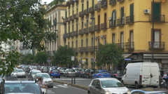 Traffic on Naples, Italy street auto, scooter, pedestrian - HD-P 0205 Stock Footage