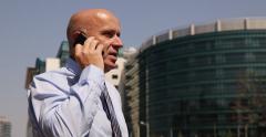 Nervous Businessman Talking Mobile Bad News Agitated Man Talk Phone City Street Stock Footage
