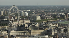 Aerial View over London featuring London Eye and the Thames Stock Footage